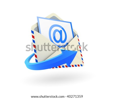 Email envelope on white background
