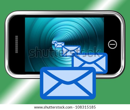 Email Envelopes On Mobile Screen Showing Emailing Or Contacting - stock photo