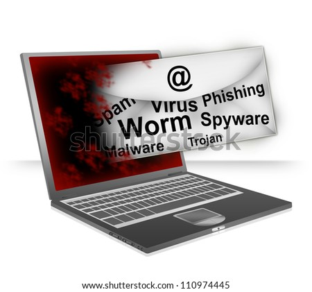 Email Fly Through The Computer Laptop Screen With Many Malicious Program Inside For Computer Network Spam Concept Isolated on White Background - stock photo