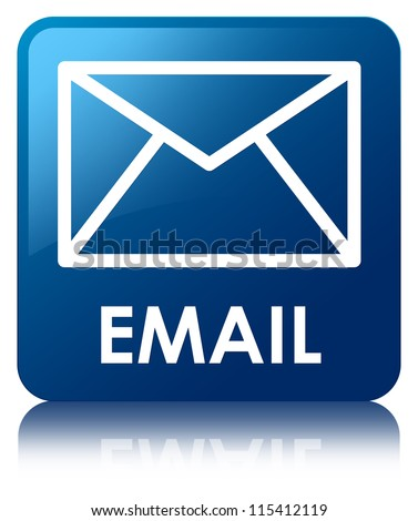 Email glossy blue reflected square button - stock photo