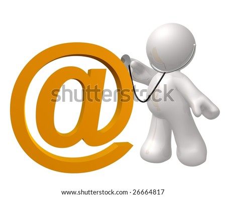 email icon being check of virus attack - stock photo