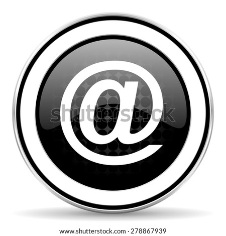 email icon, black chrome button  - stock photo