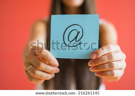 email icon drawing in hand - stock photo