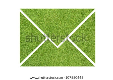 Email icon green grass on white background