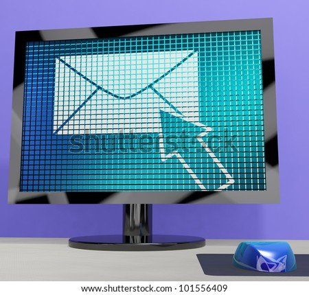 Email Icon On Screen Shows Emailing Or Contacting