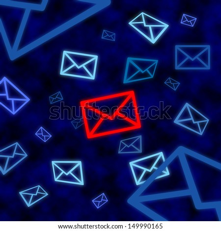 Email icon targeted by electronic surveillance in a blue cyberspace - stock photo