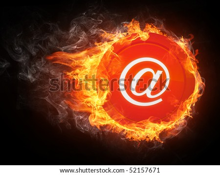 Email in Fire. Computer Graphics. - stock photo