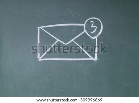Email Inbox sign on blackboard - stock photo