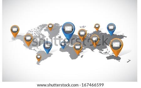 email marketing communication world map illustration design over a white background - stock photo