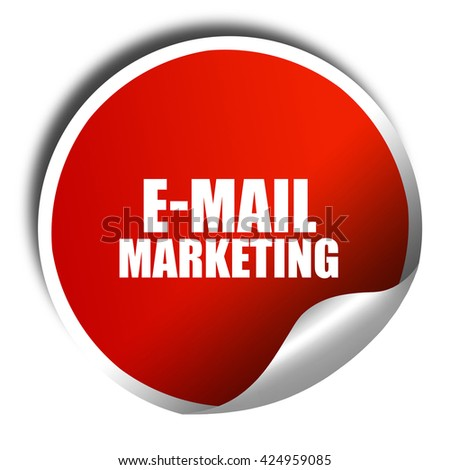 email marketing, 3D rendering, red sticker with white text - stock photo