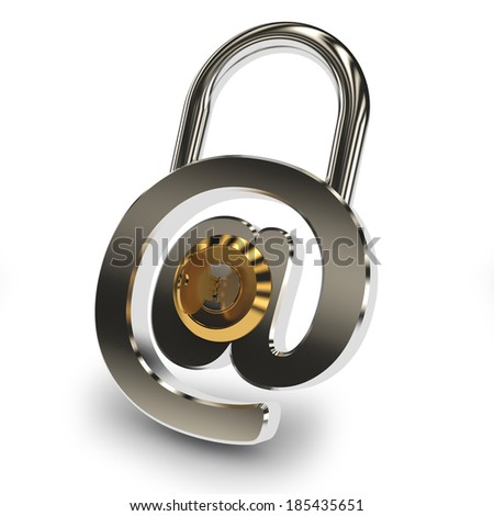 Email protection lock and key on white background