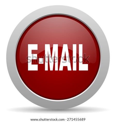 email red glossy web icon  - stock photo