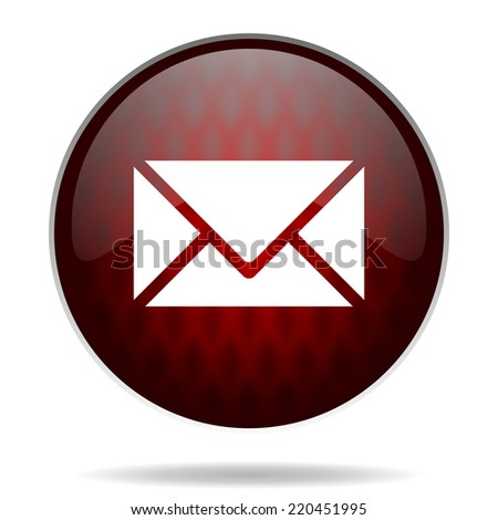 email red glossy web icon on white background  - stock photo