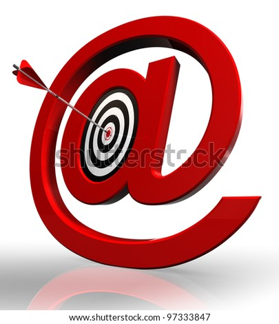 email red symbol and concept target with arrow on white background clipping path included