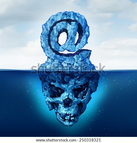 Email risk and internet communication danger as an iceberg shaped as an ampersand  e-mail symbol with a skull shape hidden under the water as a metaphor for deceptive web attack. - stock photo