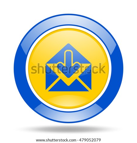 email round glossy blue and yellow web icon