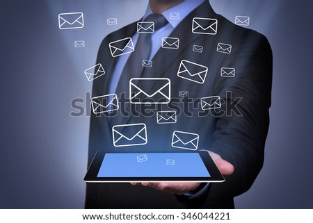 Email Sending Concept on Tablet - stock photo