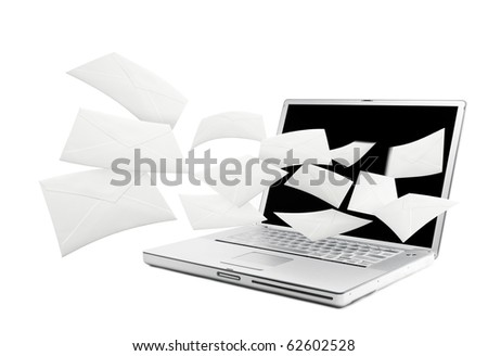 Email shooting out from computer. - stock photo