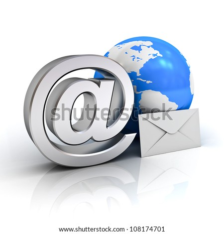 Email sign, blue globe map and envelope on white background with reflection - stock photo