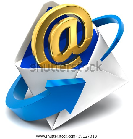 Email sign & envelope. - stock photo