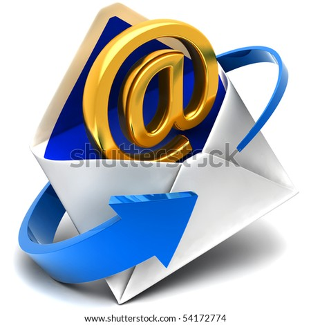 Email sign & envelope - stock photo