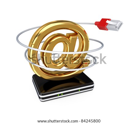Email sign, router and patchcord. 3d rendered. Isolated on white background.