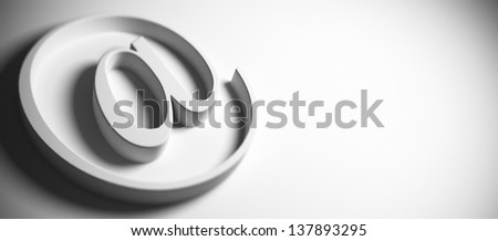 email symbol, at sign, grey background, panoramic image blur effect and copy space on the right, 3D render - stock photo