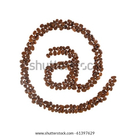Email symbol made from coffee beans. - stock photo