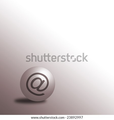 Email symbol on ball over graduated toned background
