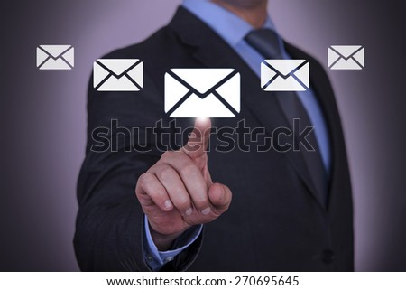 Email Touch With Finger  - stock photo