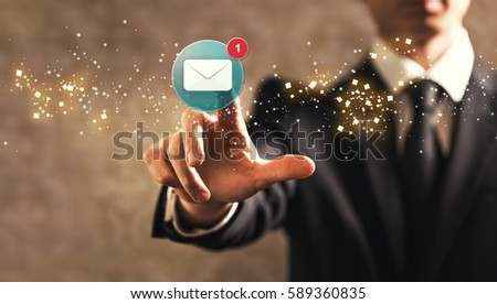 Email with businessman on dark vintage background