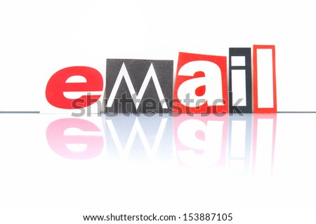 Email with newspaper letters - stock photo