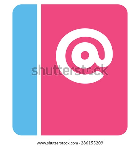 Emails icon from Business Bicolor Set. This flat glyph symbol uses pink and blue colors, rounded angles, and isolated on a white background.