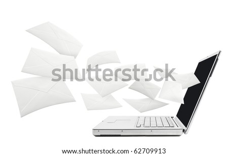 Emails shooting out from computer. - stock photo