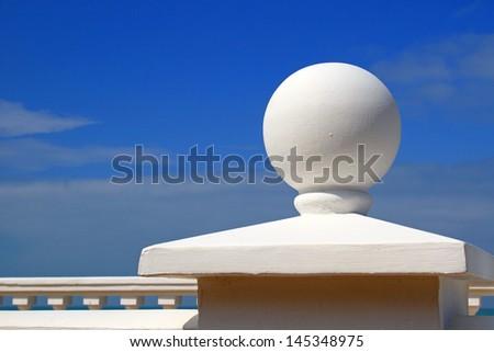 Embankment element - a white sphere - stock photo