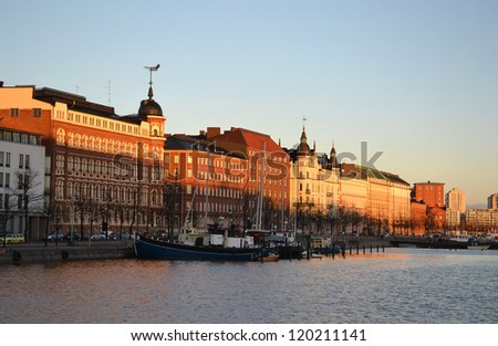 Embankment in Helsinki in the early autumn morning, Finland - stock photo