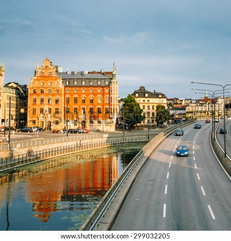 Embankment In Stockholm At Summer Sunny Day, Sweden - stock photo
