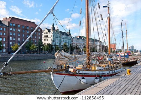 Embankment of Helsinki. Previous summer evening. Finland. - stock photo