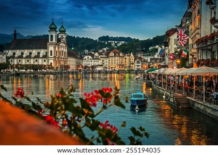 Embankment of Reuss at night, Lucerne, Switzerland - stock photo