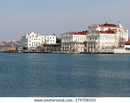 Embankment of Sevastopol city, Crimea, Ukraine, April 2011 - stock photo