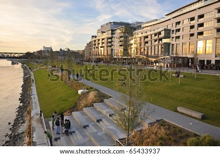 Embankment of the Danube in Bratislava - stock photo