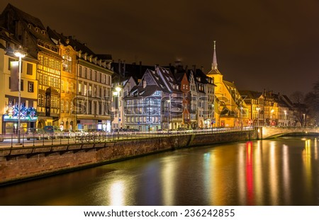 Embankment of the Ill river in Strasbourg - Alsace, France - stock photo