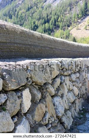 Embankment retaining waterway - stock photo