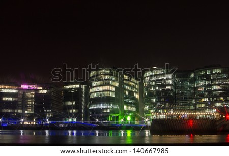 Embankment with Office Buildings at night, London, England - stock photo