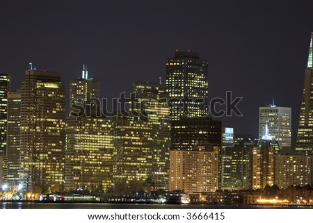 Embarcadero Center at night, Financial District San Francisco California