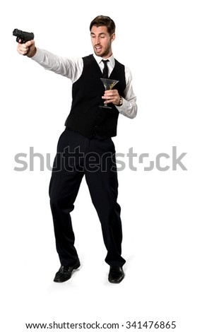 Embarrassed Caucasian man with short dark brown hair in business formal outfit using handgun - Isolated