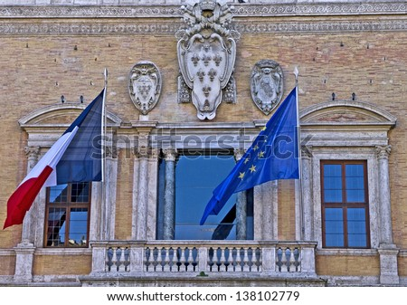 Embassy of the French Republic (Palazzo Farnese) in Piazza Farnese, Rome, Lazio, Italy - stock photo