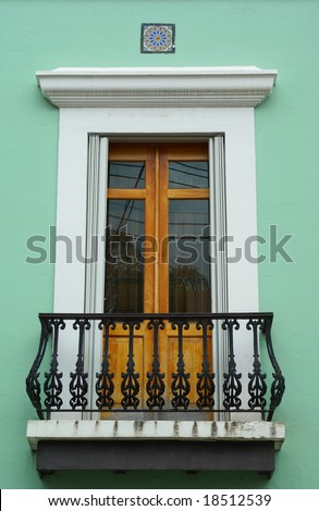 Embellished balcony door in Old San Juan Puerto Rico - stock photo