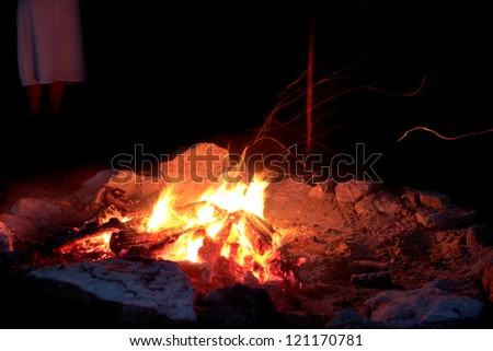 Embers - campfire - stock photo