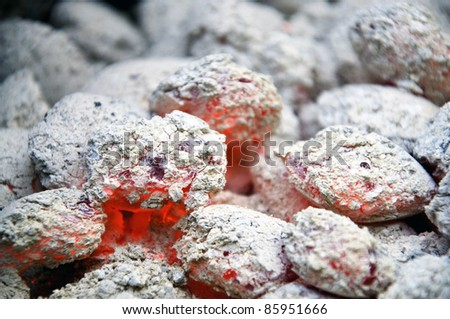 Embers in charcoal - stock photo